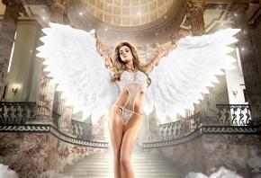 ангел, крылья, блондинка, красотка, секси