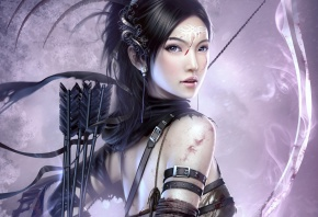 Обои девушка, лучник, лук, воин, стрелы