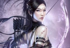 девушка, лучник, лук, воин, стрелы