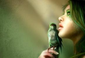 девушка, птичка, волосы, зеленые, перья, клюв
