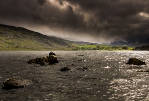 река, камни, пейзаж, небо, поля