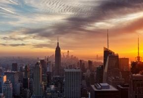 Нью-Йорк, New York, США, дома, закат