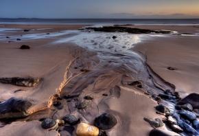 море, берег, песок, камни, ручей, пейзаж