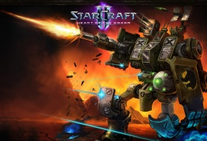 Обои Starcraft 2, Heart of the swarm, робот, выстрел, огонь, теран, terran