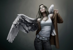 Обои девушка, ангел, крылья, одевается, плащ, джинсы, майка