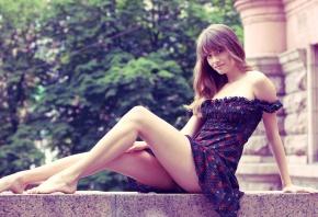 платье, ножки, Julia, улица, взгляд, деревья