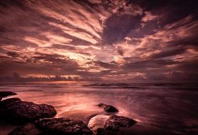 океан, берег, камни, тучи, закат