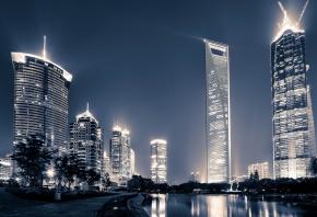 Шанхай, Китай, ночной город, река, набережная, небоскрёбы, здания