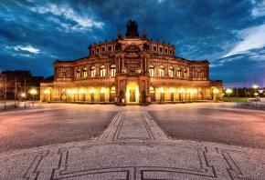 Dresden, Germany, Дрезден, Театральная площадь, Германия, вечер, тучи, освещени