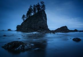 ночь, скалы, берег, деревья, вода, камни