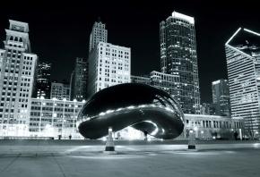 Чикаго, millennium park, Chicago, Миллениум парк, монумент, отражение, вечер
