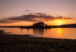 вечер, закат, остров, солнце, лес, озеро