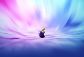 яблоко, укус, листик, фон, разноцветный