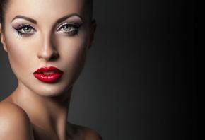 лицо, губы, красные, глаза, красивая, взгляд