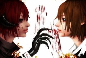 Обои арт, парни, демон, рука, кровь, рога