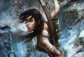 Обои omb raider, lara croft, игра, девушка, оружие, лук, узор, стрелы, взгляд, лицо, губы, пар, зима, снег, холод, лед