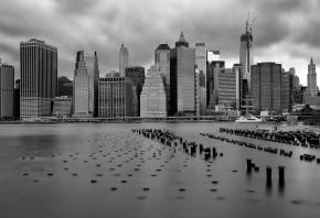 New York, городок, черна-белый экран