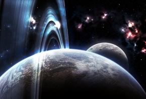 Обои планеты, пространство, звезды, кольца