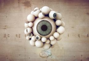 много глаз, наблюдатель, 3D, рендер