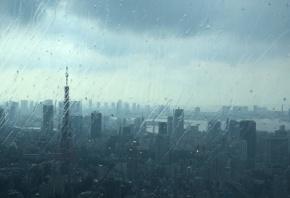 дождь, стекло, город, дома, настроение