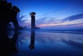Обои вода, море, скалы, деревья, арка, вечер