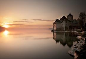 солнце, отражение, замок, Озеро, вода