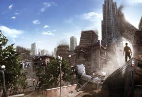 разрушения, апокалипсис, руины, город, мужик, I am alive