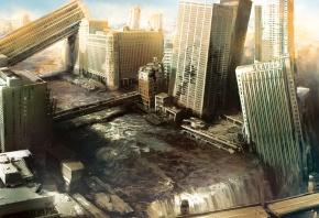 Обои небоскребы, I am alive, город, разрушения, апокалипсис, руины