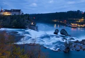 switzerland, река, замок, швейцария, водопад