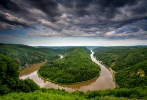 Германия, Петля Саара, река, изгиб, Сааршляйфе, деревья, небо, облака, тучи, панорама