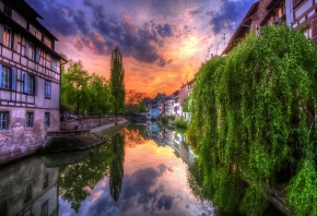 пейзаж, небо, облака, город, река