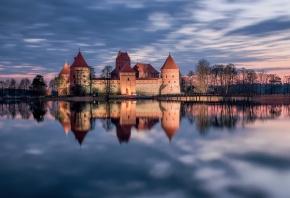 замок, литва, отражение, вода, закат