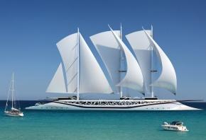 Яхта финикия, море, катер, паруса