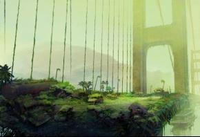 Мост, машины, растение