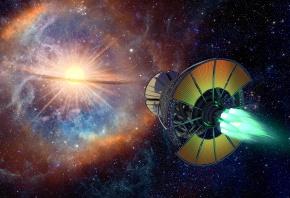 Обои космический корабль, космос, звезды, планеты, сияние