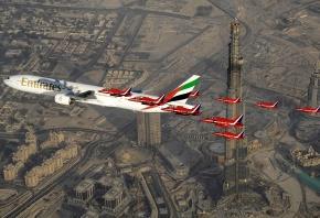 самолет, пассажирский, авиалайнер, Boeing 777, авиакомпании, Emirates, семейство, широкофюзеляжных, пассажирских, самолетов, для, авиалиний, большой