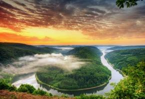 Германия, река, изгиб, Саар, Сааршляйфе, лес, деревья, небо, облака, вид, высота