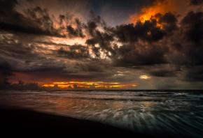 закат, море, облака, вечер, вода