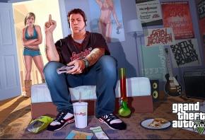 Обои Grand Theft Auto V, gta, комната, мальчик, девочка, постер
