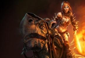 дракончик, девочка, воин, огненный, меч