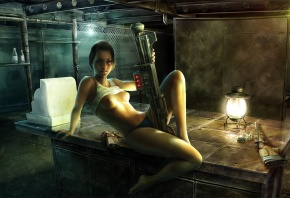 револьвер, Fallout 3, винтовка, стол, девушка