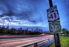 Обои Chicago, США, Иллиноис, трасса, знак, огни