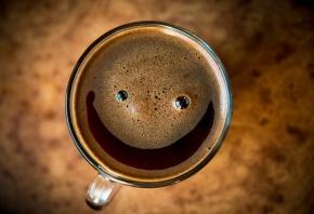 smile, чашка, пена, напиток, макро, настроение