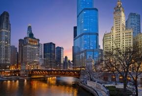 США, Иллинойс, Чикаго, ночь, огни, парк, usa