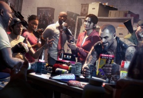 Обои left 4 dead, Ellis, Nick, coach, Rochelle, Zoey, Bill, Francis, Louis