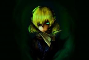mizuhashi parsee, touhou, девушка, зеленый фон, взгляд, уши