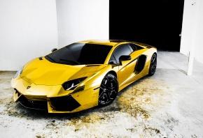 Lamborghini, Aventador, Gold, Машины, Авто, Тюнинг, Золото, Спорткар, Отражения