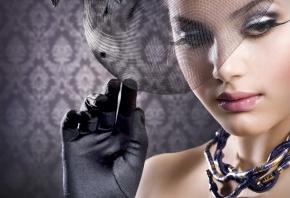 девушка в шляпе, красивая, взгляд, ресницы, глаза, губы