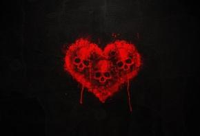 Кровь, голова скелета, черный окно