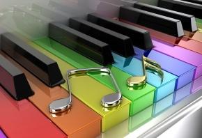 пианино, клавиши, цветные, ноты